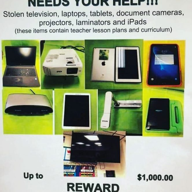 Several Items from Finley School Burglary Recovered